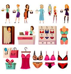 Bvd lingerie store set vector