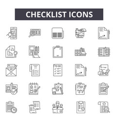 checklist line icons for web and mobile design vector image