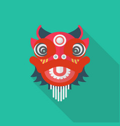 chinese red lion in flat style vector image