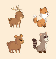 collection cute animal wildlife image vector image