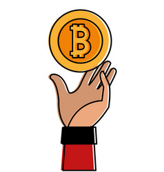 Color bitcoin electronic currency with hand up vector