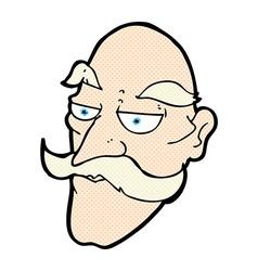 Comic cartoon old man face vector
