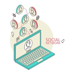 Conceptual image with social networks Flat vector image