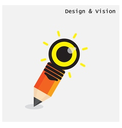Creative pencil and light bulb design vector image