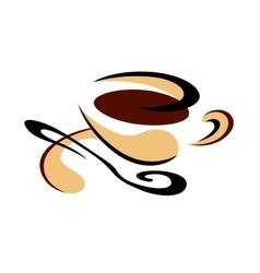 Cup freshly brewed espresso coffee vector