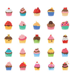 Cupcakes icons pack vector