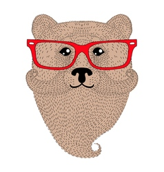 Cute brown bear portrait with french mustache vector image