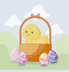 cute chicken in basket with eggs of easter vector image