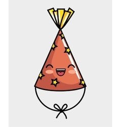 Cute kawaii hat party icon vector