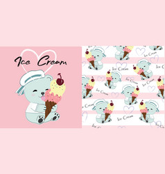 cute teddy bear with ice cream cartoon vector image