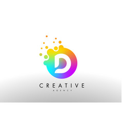 D rainbow dots letter logo letter design with vector