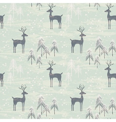 Deer in winter pine forest vector