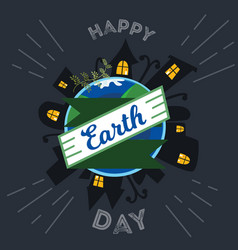 earth day planet sleeps at night with city houses vector image