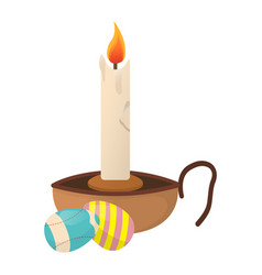 easter candlestick with eggs icon happy easter on vector image