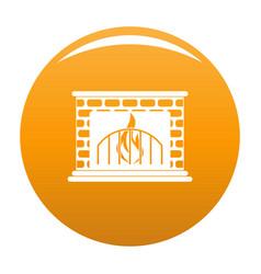 Fireplace icon orange vector