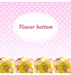Floral pink background with cartoon bouquets vector