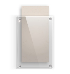 Glass plate with a piece of cardboard on white vector