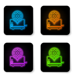 glowing neon toaster and gear icon isolated on vector image