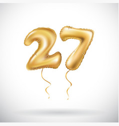 Golden number 27 twenty seven metallic balloon vector