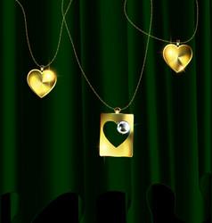 Green drape and golden pendants vector