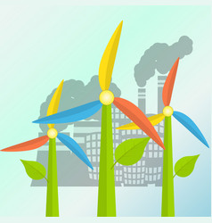 Green energy concept with windmills stylized as a vector