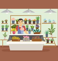 green natural flower shop interior decorations man vector image