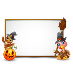 Halloween sign with witch hat owl turkey and pu vector