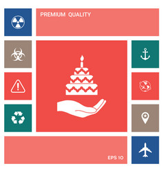 hand holding a cake icon elements for your vector image