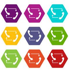 handsets with arrows icon set color hexahedron vector image