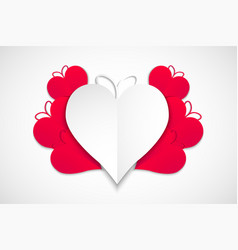 happy valentines day red and white hearts with vector image