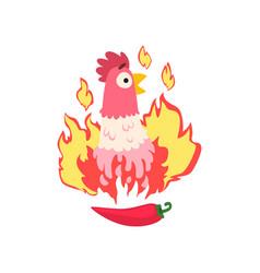 Hot spicy chicken grilled fire chicken creative vector