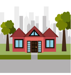 house sweet landscape city vector image