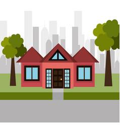 house sweet landscape city vector image