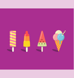 ice cream set in flat style vector image