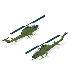 Isometric single-engine attack helicopter vector