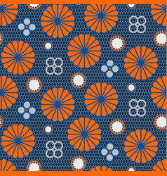 japanese pattern in blue and orange colors vector image