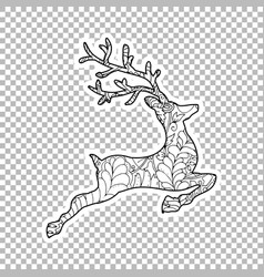 jumping deer sticker ornate vector image
