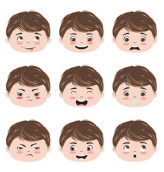kawaii boy head emotions vector image