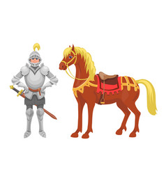 knight with armor and horse vector image
