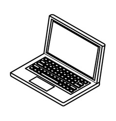 laptop icon cartoon black and white vector image