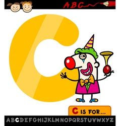 letter c with clown cartoon vector image