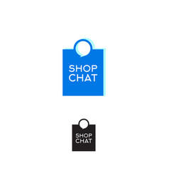 logo shop chat shopping bag with bubble vector image