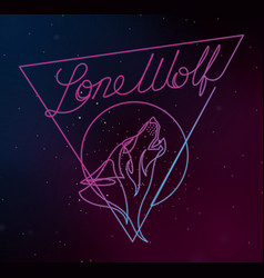 Lone wolf continuous line vector
