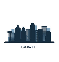 Louisville skyline monochrome silhouette vector