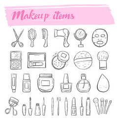 Makeup kit doodle icon set vector