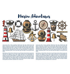 marine adventure nautical objects vector image