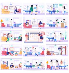 Medicine teamwork concept with doctors vector