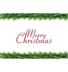 merry christmas text with christmas garland vector image