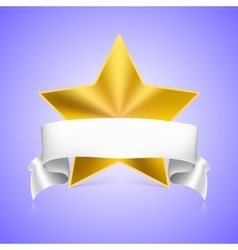 Metal star label with ribbon vector