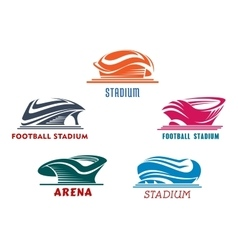 Modern abstract sport stadiums building icons vector